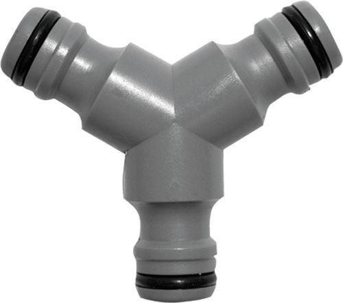 FIT тройник для поливочного шланга с соединителями пластик арт.77422 (быстросъем)