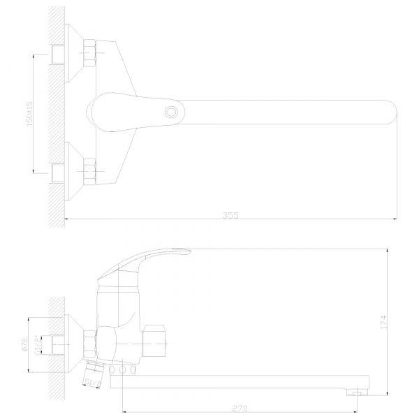 """смеситель ванна """"Decoroom"""" картридж 35 мм. плоский излив 30см. арт.DR68043"""