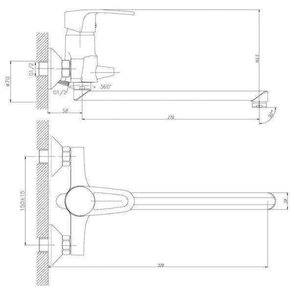 """смеситель ванна """"Decoroom"""" картридж 40 мм. плоский излив 30см. арт.DR67043"""
