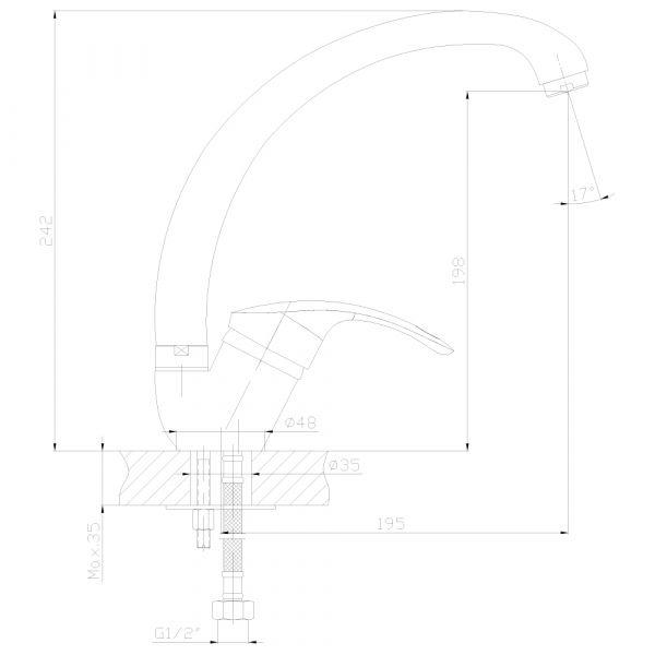 """смеситель кухня """"Decoroom"""" картридж 35 мм. высокий излив 20см. арт.DR68021"""