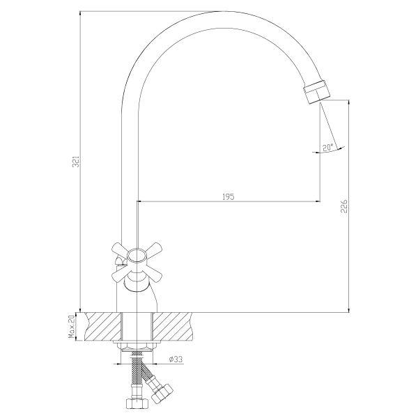 """смеситель кухня """"Decoroom"""" 1/2"""" крест керамика, высокий излив 20см. арт.DR46028-White"""