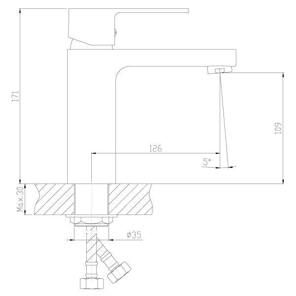 """смеситель тюльпан (умывальник) """"Decoroom"""" картридж 35 мм. излив 13см. монолитный арт.DR36011"""