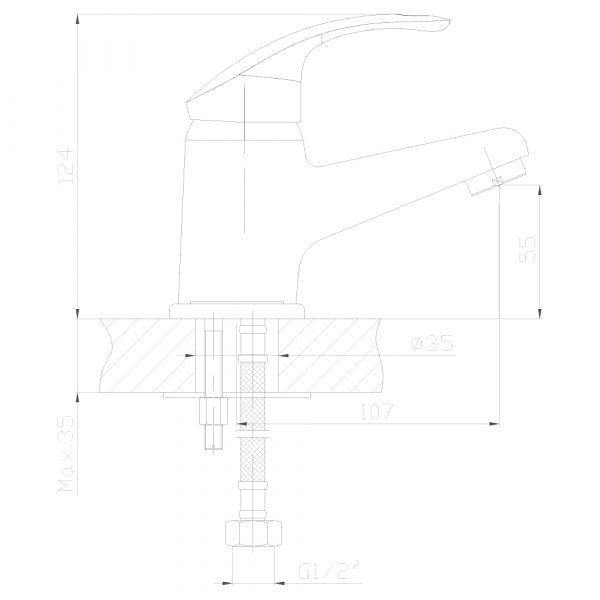 """смеситель тюльпан (умывальник) """"Decoroom"""" картридж 35 мм. излив 11см. монолитный арт.DR68011"""