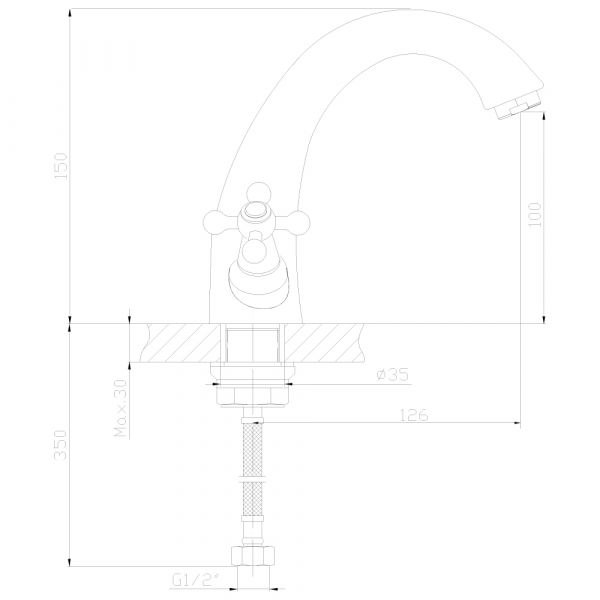"""смеситель тюльпан (умывальник) """"Decoroom"""" 1/2"""" крест керамика, излив 13см. монолитный арт.DR49011"""