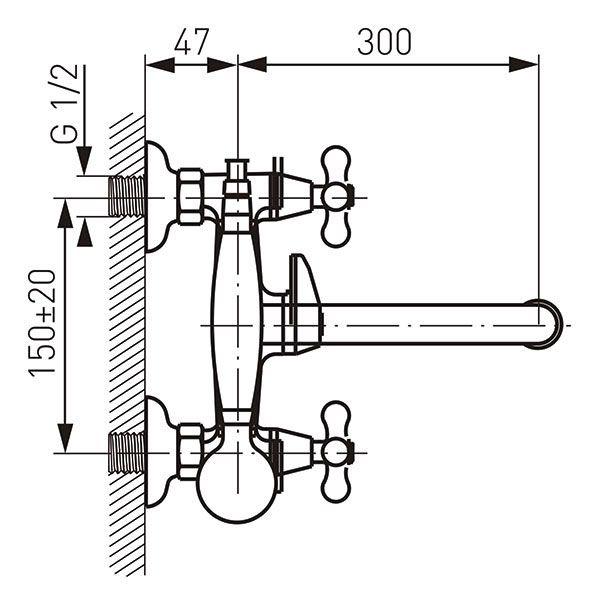 """смеситель ванна Ferro Retro 1/2"""" резина, круглый излив 30см. хром арт.XR11A Польша"""