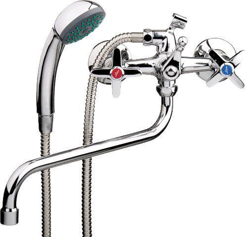"""смеситель ванна """"LEDEME"""" 1/2"""" крест керамика, круглый излив (L2120)"""