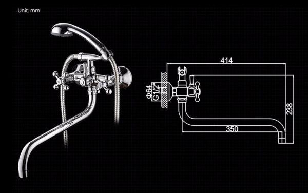 """смеситель ванна """"LEDEME"""" 1/2"""" крест керамика, круглый толстый излив, ретро (L2619)"""