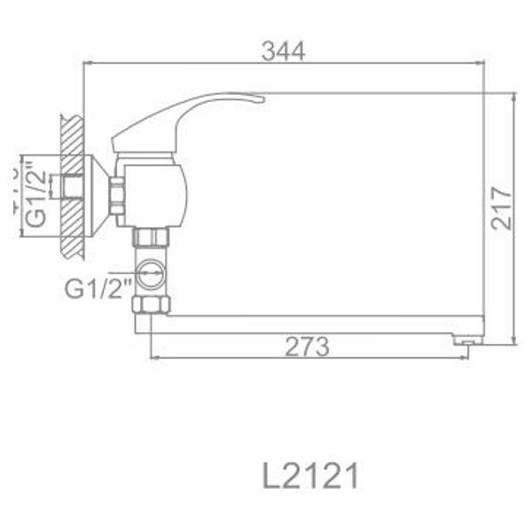 """смеситель ванна """"LEDEME"""" картридж 40 мм. плоский излив L30, дивертор отдельный (L2121)"""