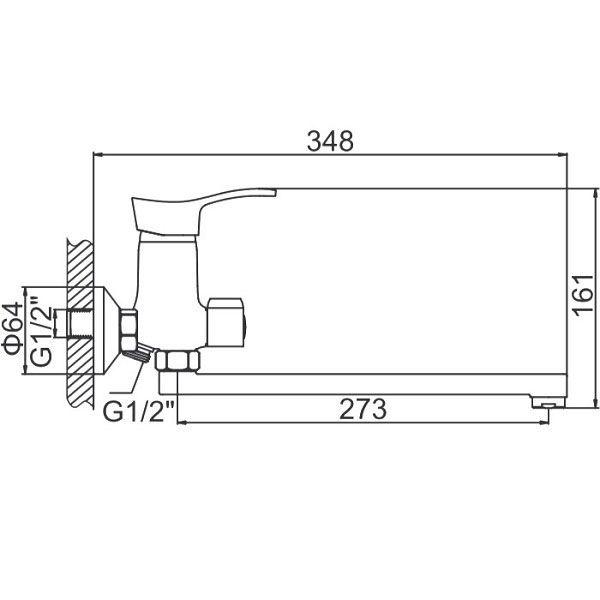 "смеситель ванна ""LEDEME"" картридж 35 мм. плоский излив L30F, дивертор в корпусе (L2214)"