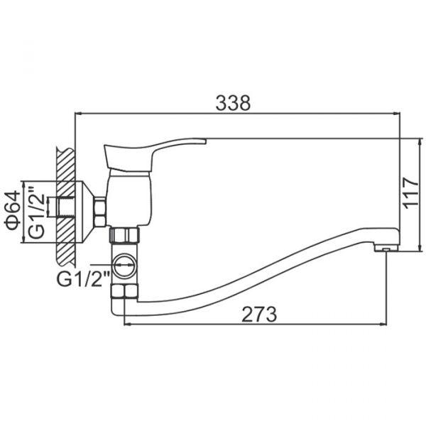 """смеситель ванна """"LEDEME"""" картридж 35 мм. плоский излив L30S, дивертор отдельный (L2114)"""