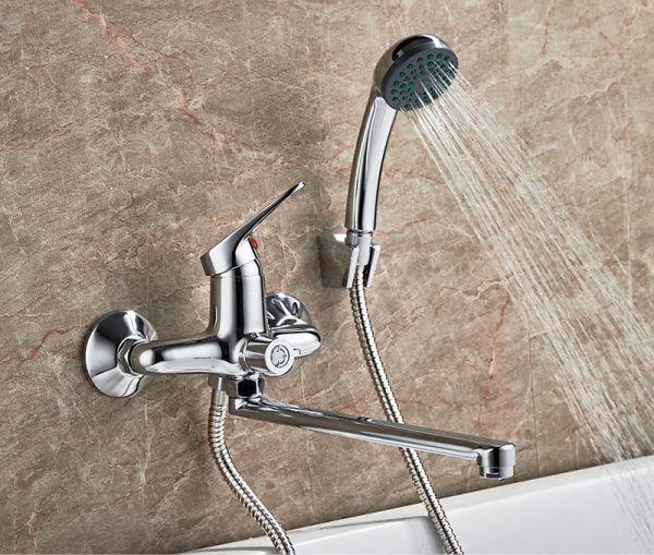 "смеситель ванна ""LEDEME"" картридж 35 мм. плоский излив L30S, дивертор в корпусе (L2213)"