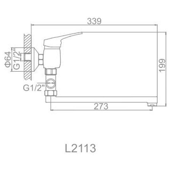 """смеситель ванна """"LEDEME"""" картридж 35 мм. плоский излив L30, дивертор отдельный (L2113)"""