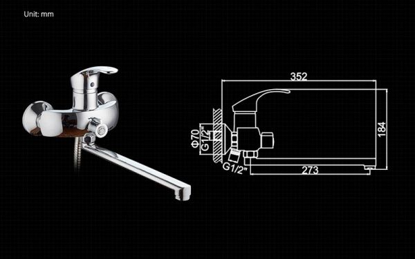 "смеситель ванна ""LEDEME"" картридж 40 мм. плоский излив L30F, дивертор в корпусе (L2221)"