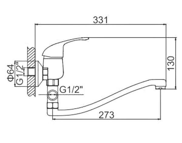 """смеситель ванна """"LEDEME"""" картридж 40 мм. плоский излив L30S, силумин (L2129-B)"""