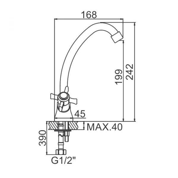"""смеситель кухня (ёлочка) """"LEDEME"""" 1/2"""" крест керамика, круглый излив 15см. (L4111)"""