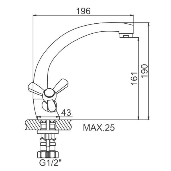 """смеситель кухня (ёлочка) """"LEDEME"""" 1/2"""" крест керамика, литой излив 20см. силумин (L4427)"""