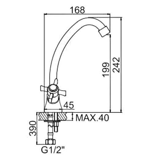 """смеситель кухня (ёлочка) """"LEDEME"""" 1/2"""" крест керамика, круглый излив 18см. крепеж гайка (L4911)"""