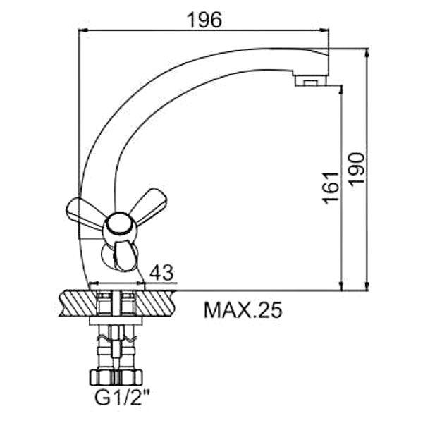 """смеситель кухня (ёлочка) """"LEDEME"""" 1/2"""" крест керамика, литой излив 20см. силумин (L4408)"""