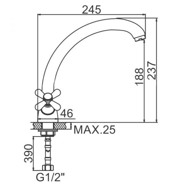 """смеситель кухня (ёлочка) """"LEDEME"""" 1/2"""" керамика, литой излив 25см. крепеж гайка (L4218-2)"""