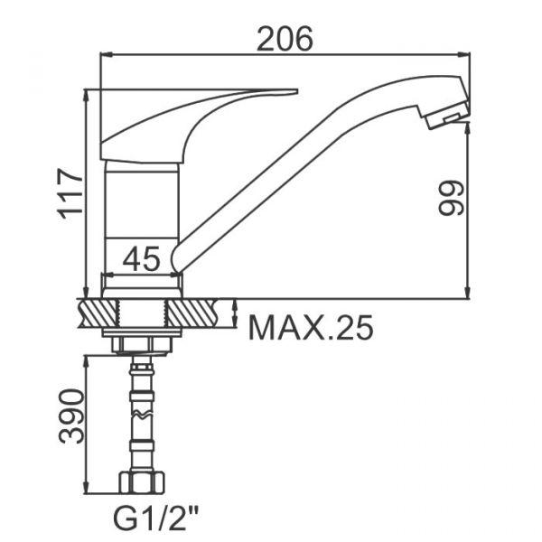 "смеситель кухня (ёлочка) ""LEDEME"" картридж 35 мм. излив L15см. (L4536)"