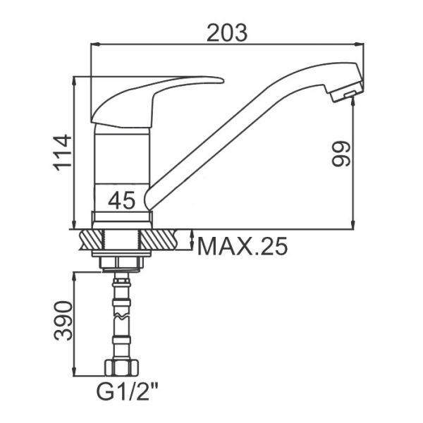 """смеситель кухня (ёлочка) """"LEDEME"""" картридж 35 мм. излив L20см. крепеж гайка (L4515-2)"""