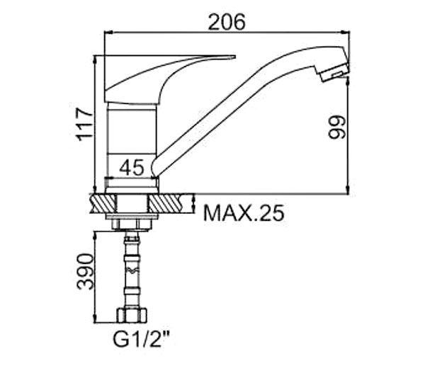 """смеситель кухня (ёлочка) """"LEDEME"""" картридж 35 мм. излив L15см. крепеж гайка (L4536-2)"""