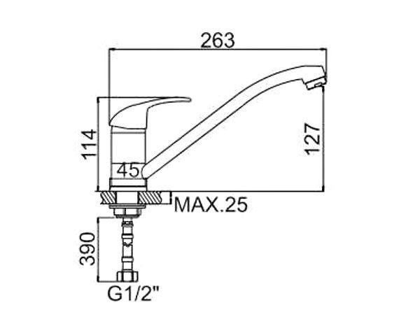 """смеситель кухня (ёлочка) """"LEDEME"""" картридж 35 мм. поворотный излив 25см. крепеж гайка (L4915)"""