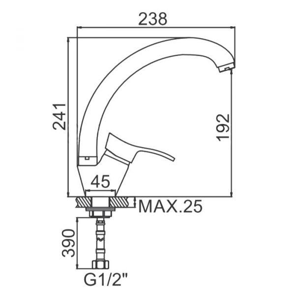 "смеситель кухня (ёлочка-утка) ""LEDEME"" картридж 35 мм. излив 25см. крепеж гайка (L5914)"