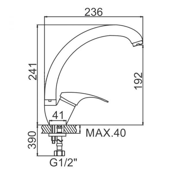 """смеситель кухня (ёлочка-утка) """"LEDEME"""" картридж 35 мм. излив 25см. силумин (L4136-B)"""