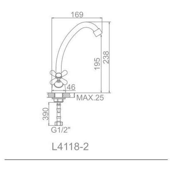 """смеситель кухня """"LEDEME"""" 1/2"""" крест керамика, излив 18см. крепеж гайка (L4118-2)"""