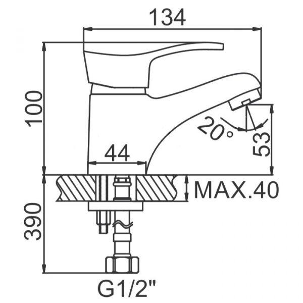 """смеситель тюльпан (умывальник) """"LEDEME""""  картридж 35 мм. излив 13см. (L1014)"""