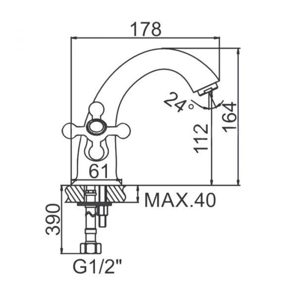 """смеситель тюльпан (умывальник) """"LEDEME"""" 1/2"""" крест керамика, литой излив 18см. (L1019)"""