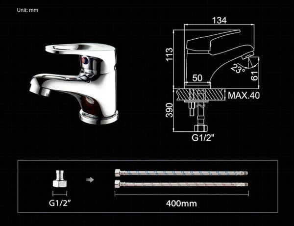 """смеситель тюльпан (умывальник) """"LEDEME"""" картридж 35 мм. излив 13см. (L1013)"""