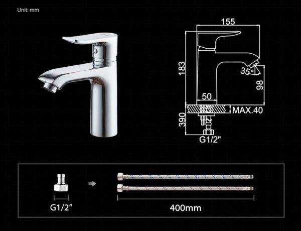 """смеситель тюльпан (умывальник) """"LEDEME"""" картридж 35 мм. излив 15см. (L1034)"""